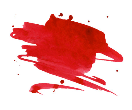 Red watercolor stain with aquarelle paint blotch