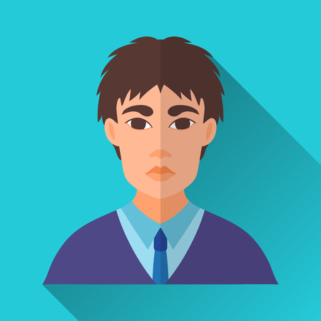 Illustration pour Blue flat style square shaped male character icon with shadow. Illustration of a young asian businessman or a student wearing a blue suit and a tie. - image libre de droit