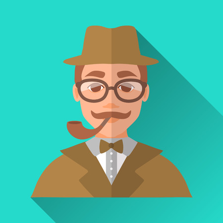 Illustration pour Turquoise blue flat style square shaped male character icon with shadow. Illustration of a detective or a hipster man with moustache wearing brown suit, bow tie, a hat and glasses smoking a pipe. - image libre de droit