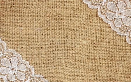 Photo pour Canvas with white lace in corners - image libre de droit