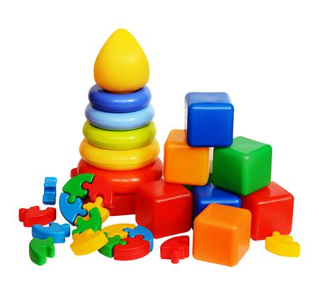 Foto de Children's toys isolated on a white background - Imagen libre de derechos