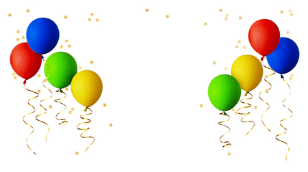 Photo pour Red, blue, green and yellow balloons with gold ribbons and star shape confetti isolated on white background - image libre de droit
