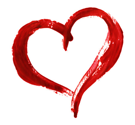 Photo pour Closup of red heart painted with a brush isolated on white background for Valentine's day - image libre de droit