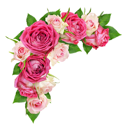 Photo pour Beautiful pink and white rose flowers in a corner arrangement isolated on white. Top view. Flat lay. - image libre de droit