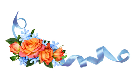 Photo pour Orange roses and blue small flowers with silk ribbon in a corner arrangement isolated on white background. Flat lay, top view. - image libre de droit