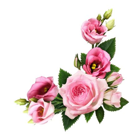 Photo pour Pink roses and eustoma flowers and buds in a floral corner arrangement isolated on white background. Flat lay. Top view. - image libre de droit