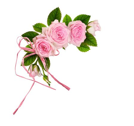 Photo for Pink rose flowers with green leaves and raffia bow in a floral arrangement isolated on white background - Royalty Free Image