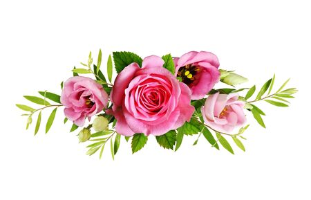 Photo for Pink roses and eustoma flowers in a floral arrangement isolated on white - Royalty Free Image