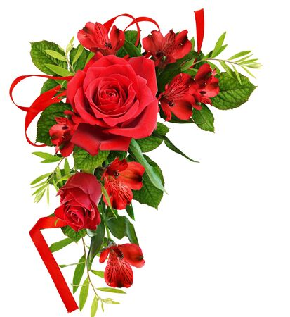 Photo pour Red roses and alstroemeria flowers in a floral corner arrangement isolated on white - image libre de droit