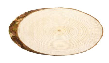 Foto de Oval cross section of pine tree isolated on white - Imagen libre de derechos