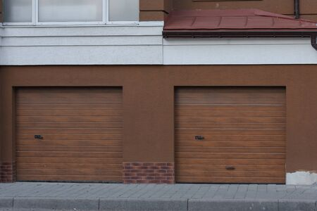 Photo for garage row of garages in a large house - Royalty Free Image