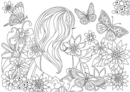 Illustration pour Pretty girl in fancy flowers with butterflies for your coloring book - image libre de droit