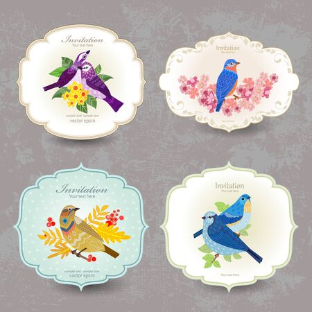 Illustration for Romantic vintage labels with cute birds and flowers for your design - Royalty Free Image