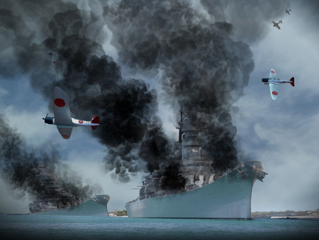 Photo pour Digital Oil Painting of an attack similar to Pearl Harbor in World War 2. - image libre de droit
