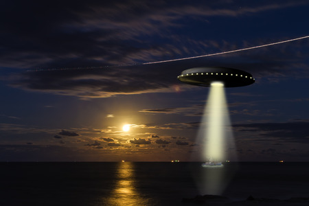 A UFO abducintg a fishing boat at sea with a full moon in the background