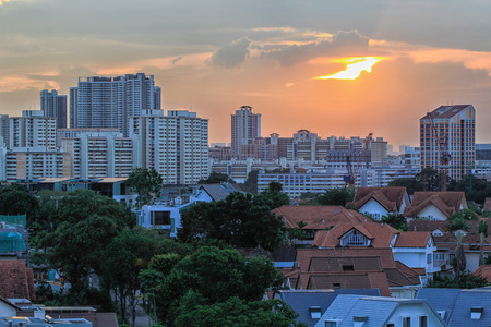 Singapore Housing Estate in suburb area at Sunset