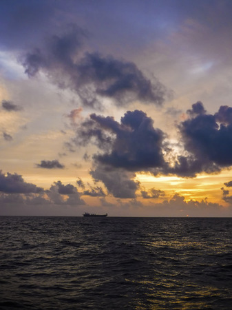 Oil tanker Drift at sea in the morning with clouds. Oil&Gas