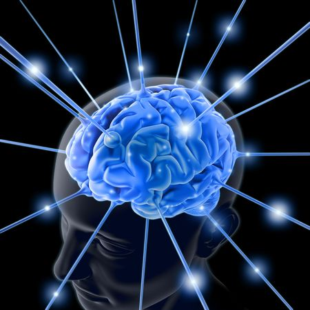 The brain is being energized through the strings. The concept of intelligence