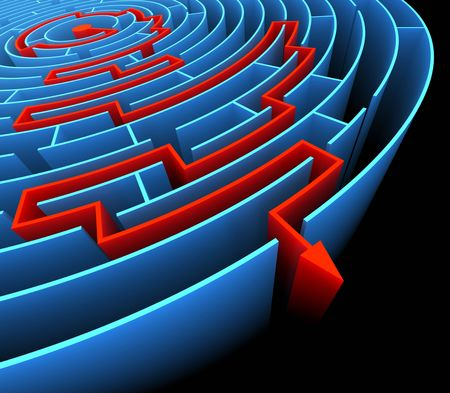 Finding the exit in the labyrinth . Concept of reaching the success.