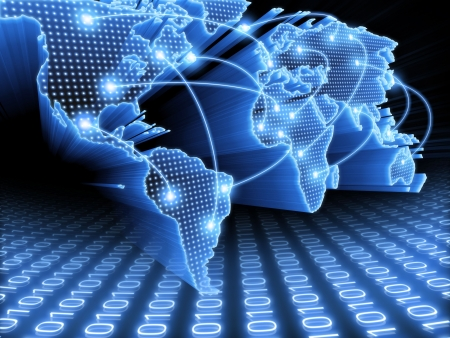 Foto de World Map interconnected by wire (Fiber Optics) of the information. Concept of global information and technology of communication. - Imagen libre de derechos