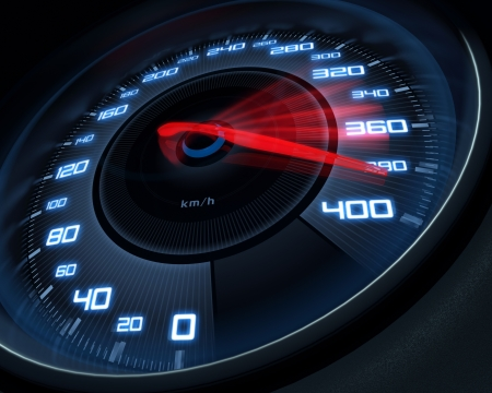 Foto de Speedometer scoring high speed in a fast motion blur. - Imagen libre de derechos