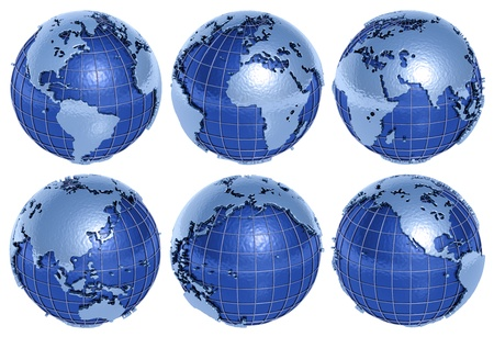 The globe of the Planet Earth in six sides on a white background.