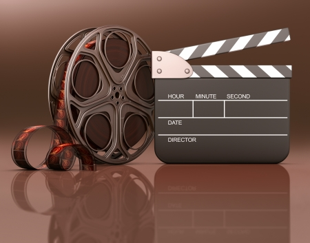Roll of film with a clapboard beside  Your info on the black space of the clapboard or under the roll and clapboard on the reflection