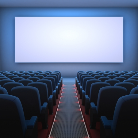 Inside of the cinema  Several empty seats waiting the movie on the screen  Your text or picture on the white screen