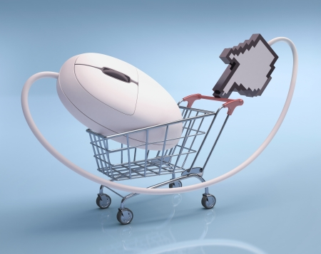 Mouse in the shopping cart  Concept of internet shopping