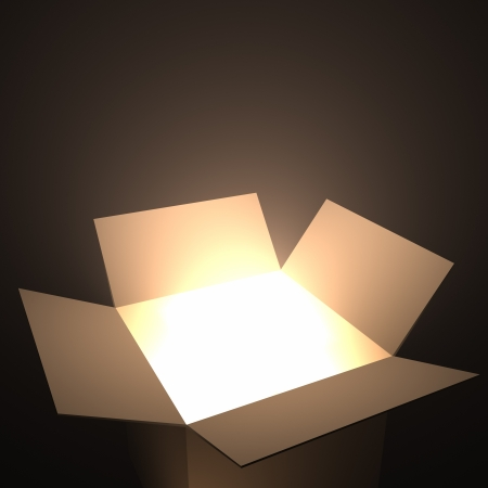 Open box with light inside. Your text coming out of the box.