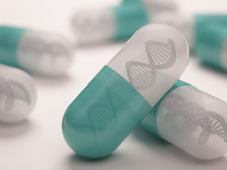 Pill with a dna inside. Concept in genetic breakthrough in drug development.