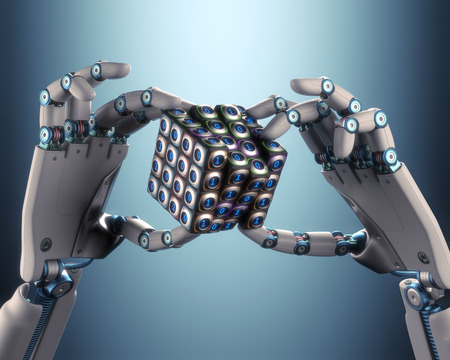 Robot hand holding a binary cube concept of logical processing. Clipping path included.