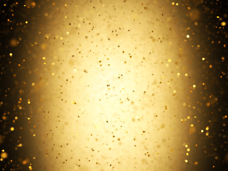 Illuminated background with gold confetti falling with depth of field.