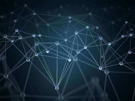 Photo pour Abstract background with points and interlinked connections in a network concept. - image libre de droit