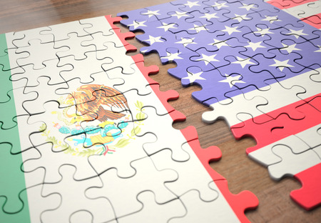 Two nations in a puzzle game that represents the division of countries by the frontier boundaries.