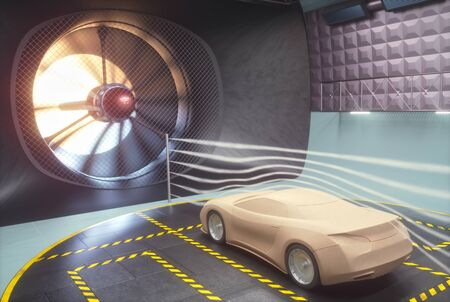 Clay car inside wind tunnel. Design without real car reference and without copyright.