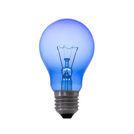 Photo for Blue color light bulb lamp isolated on white background. - Royalty Free Image
