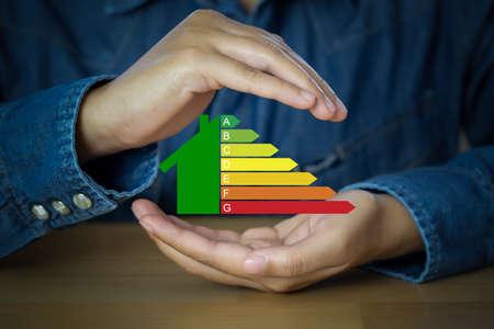 Energy efficiency symbol, concept  Saving energy and green energy.