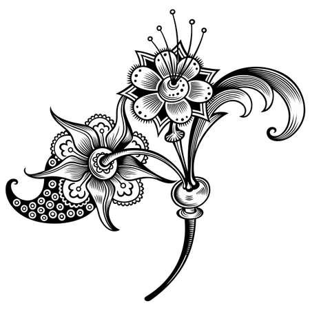 Illustration for Floral illustration. Engraved nature elements - Royalty Free Image