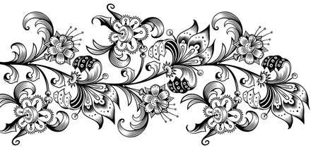 Illustration pour Floral illustration. Engraved nature elements - image libre de droit