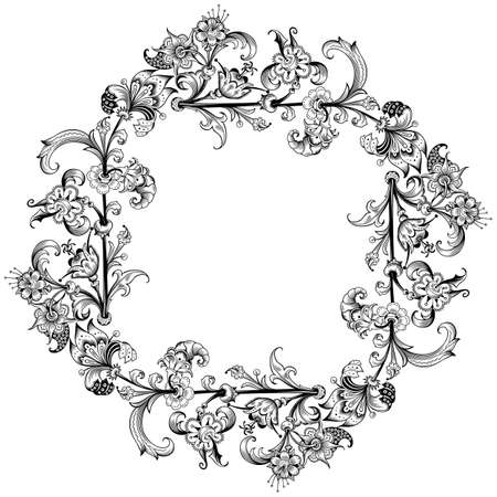 Illustration pour Floral vector vintage border. Frame design. - image libre de droit