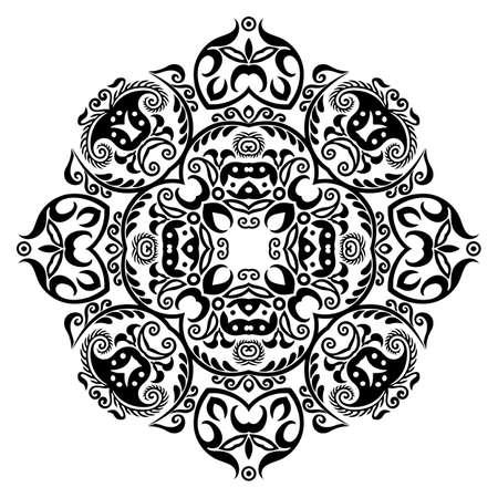 Illustration pour Vector black floral ethnic ornamental illustration - image libre de droit