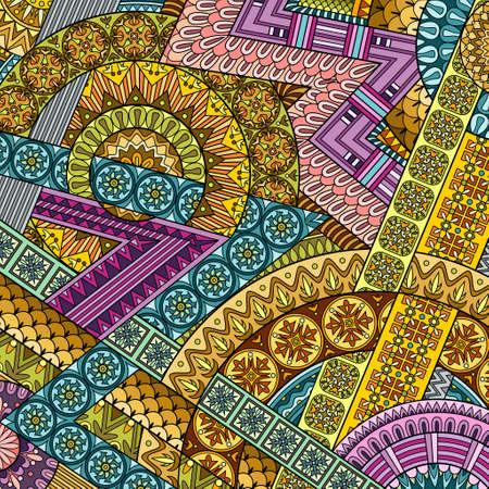 Illustration pour Vector abstract ethnic hand drawn background - image libre de droit