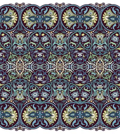 Illustration pour Abstract ethnic nature tile stripe seamless border - image libre de droit