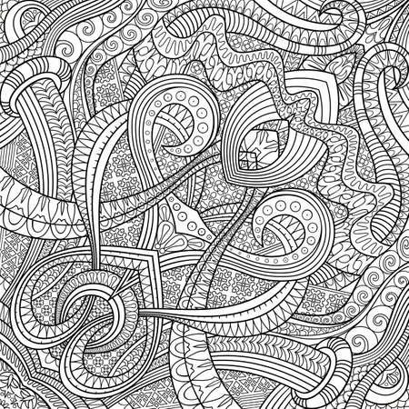 Illustration pour Vector ethnic hand drawn line art background - image libre de droit