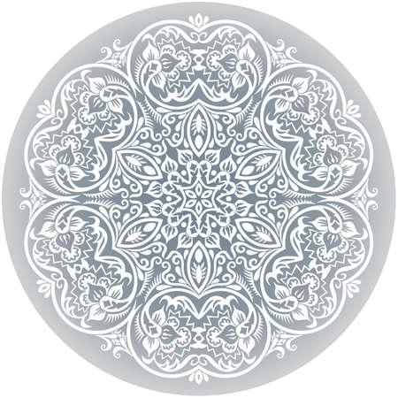 Illustration pour Vector white ethnic round ornamental illustration. - image libre de droit