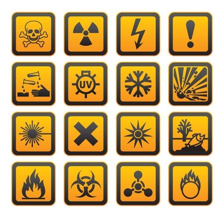 Ilustración de Hazard symbols orange vectors sign - Imagen libre de derechos