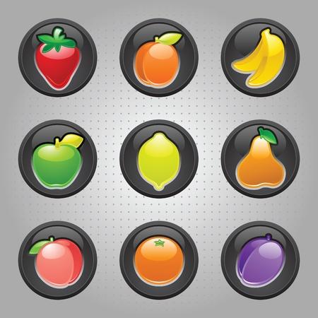 Fruits button black, web 2.0 icons