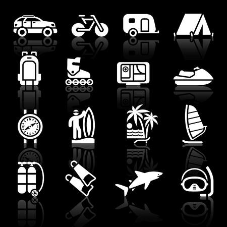 Illustration pour Tourism, Sport with reflection. Vector - image libre de droit