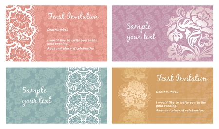 Greeting card, flower lace, space for your text, vector